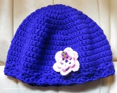 Chemo Hat Royal Purple with Butterfly on Pink Decorative Flower - One Size Fits Most - Item cc405