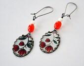 Earth Friendly Repurposed Vintage Tin Floral Earrings