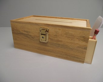 Suggestion Box with Side Pocket Reclaimed Wood with Slot Key and Lock Hinged Natural Unpainted Finish