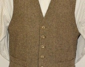 Mens Vest, herringbone in wool tweed, 100% acetate lined , AC Ashworth & Company formal wear, custom fit, two welt pockets, handmade in USA