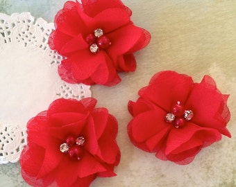 "Red Mini Chiffon Flowers with rhinestones & pearl centers - Small  2"" Whitney shabby chiffon layered flowers wholesale flowers"