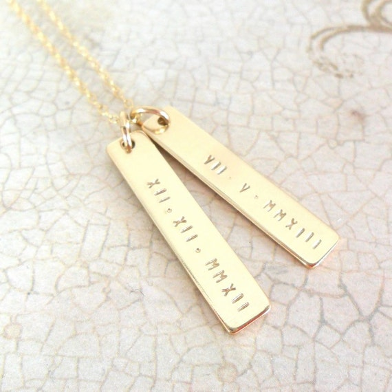 Roman Numeral Jewelry - Gold Bar - Gold Fill - Custom Necklace - Personalized - Dates - Wedding Date - Date of Birth - Gift for Mom