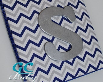 Blue Grey White Chevron Fabric Upholstered Letter Plaque - Custom Wall Decor, Name, Monogram, Initial for Baby Nursery or Girls Room