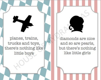 Planes or Pearls? Gender Reveal Table Signs