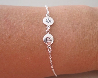 Silver Initial & Paw Charm Bracelet - Pet Jewelry - Dog Charm Necklace - Cat Charm Necklace
