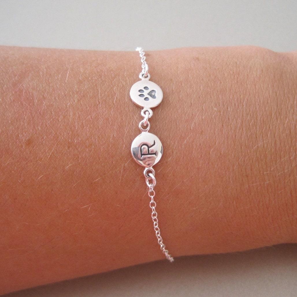 silver initial paw charm bracelet pet jewelry charm