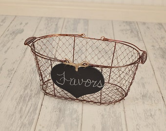 Large Chalkboard  Heart WITH WIRE BASKET