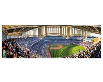 Yankee Stadium Panoramic Photograph Baseball Derek Jeter Final Season 2014 Facade Grandstand Green Blue Color Photograph Wall Art Print