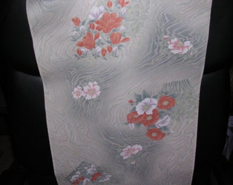 OPULENT PEONY Vintage Japanese Kimono silk fabric Silver Blue White 14 x 64 inches