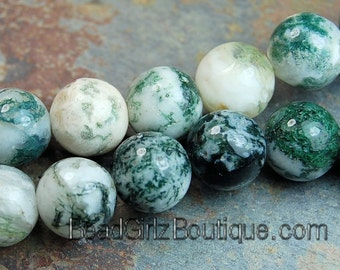 Tree Agate Round 6mm -16 inch strand