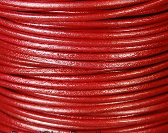 Metallic Moroccan Red 2mm Round Leather Cord 3 Yards / 9 Feet / 2.74 Meters    lea003