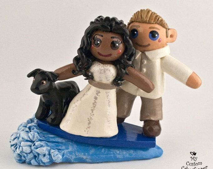 Custom Surfing Bride and Groom Wedding Cake Topper