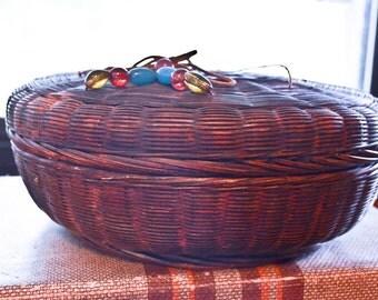 Antique Sewing Basket, Beaded Basket