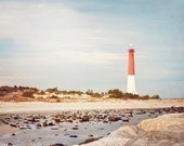 "Barnegat Lighthouse Photography - new jersey shore long beach island coastal wall print blue red brown, 11x14, 8x10 Photograph, ""Old Barney"""