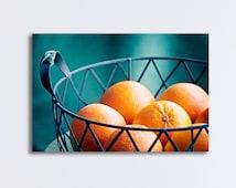 "Kitchen Canvas Print, oranges fruit teal turquoise dark aqua large photography food decor fruitbowl wall art gallery wrap, ""Vitamin C"""