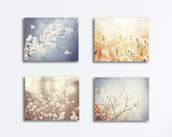 Nature Canvas Wrap Set - blue grey beige cream light brown floral photography botanical wall art branches gallery wrapped canvas prints