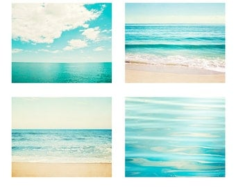 Aqua Ocean Photography Set - blue water sea seascape landscape teal turquoise horizon four wall prints 4 pictures beige white cream seashore