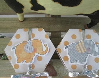 Cute Elephant Hexagon Favor Box Set of 12