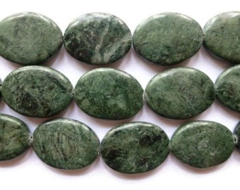 Green Marble - Oval - 28mm x 22mm - 13 beads - Full Strand