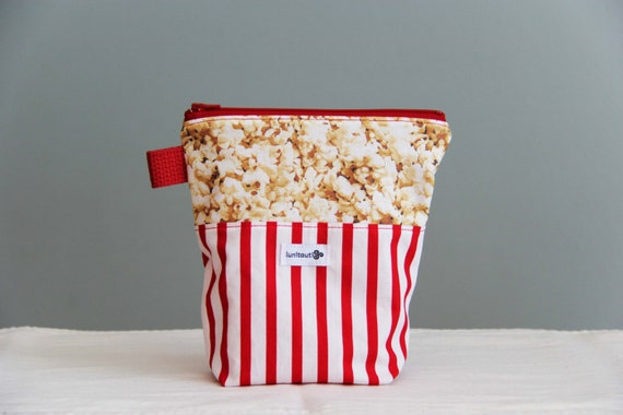 Reusable sandwich bag, reusable snack bag, ecofriendly, zippered, nylon lined - Popcorn