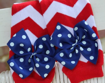 Baby Girl Leg Warmers -- Bow Leg Warmers -- July 4th -- Red and white chevron with royal polka dot bows