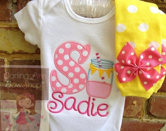 Baby Girl Personalized Outfit -- Pink Lemonade -- bodysuit and leg warmers in hot pink, pink & yellow mason jar