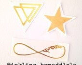 Golden girl temporary tattoo set