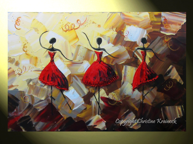 Original art abstract dancers painting red dress textured for Peinture mural original