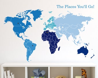 World Map of Continents & Map Markers Vinyl Sticker