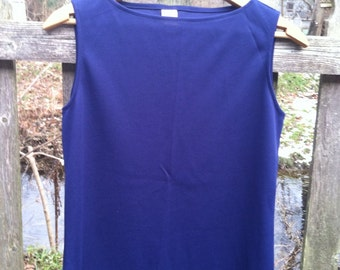 Vintage 60s Polyester Tank Top Shell Navy Blue