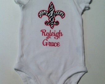Personalized Monogrammed fleur de lis zebra print Appliqued baby girl onesie