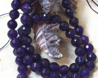 Amethyst Jade faceted gemstone bead - 6 mm beads- full strand