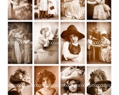 Digital Clipart, instant download, Vintage Children--sepia photography mother and child baby--Digital Collage Sheet (8.5 by 11 inches) 612