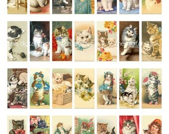 Digital Clipart, instant download, Vintage Cat and Kitten Dominoes, angora, tabby domino--Digital Collage Sheet (8.5 by 11 inches)  1379