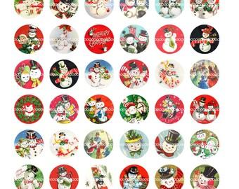 Digital Clipart, instant download, Vintage Christmas bottle cap snowman snowmen couples winter Digital Collage Sheet (8.5 by 11 inches) 1424