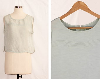 Vintage Cropped Pale Mint Green Top