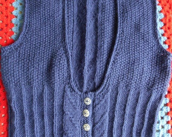 Navy wool handknit waistcoat with quirky tribal buttons in cream and navy M
