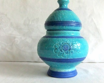 Vintage Rosenthal Netter Turquoise and Royal Blue Urn - made in Italy, Labeled, Bitossi, Italy, Mid Century Modern Decor, Collectible, Shelf
