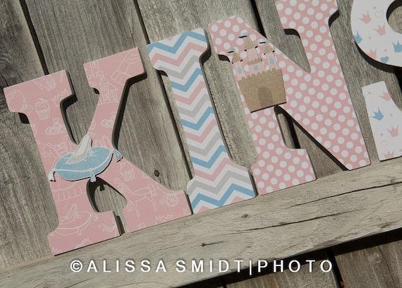 Princess Cinderella Letters Custom Nursery Wooden Letters