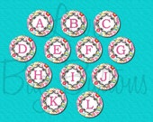 "1"" Buttons - Set of 12 - Floral Damask - 1 inch (25mm) - initials - pin back, flat back"