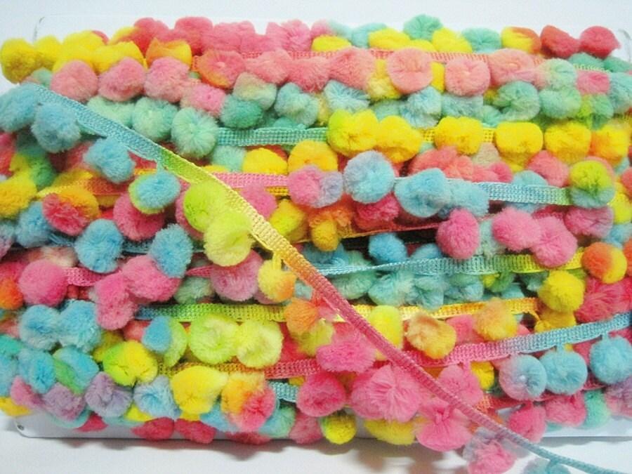 5 Yards Pastel Multicolored Pom Pom Trim pink pom pom fringe
