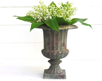 french antique iron urn, vase Medicis french vintage urn - french home