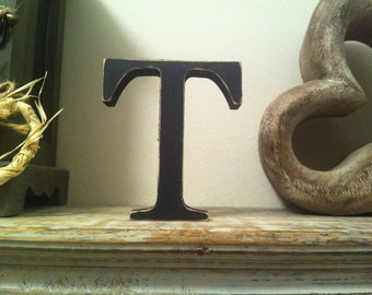 Freestanding Wooden Letter 'T' - Georgian Style - 25cm