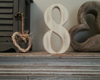 Decorative Freestanding Wedding Table Numbers - Georgian Font - 20cm high - Number 8