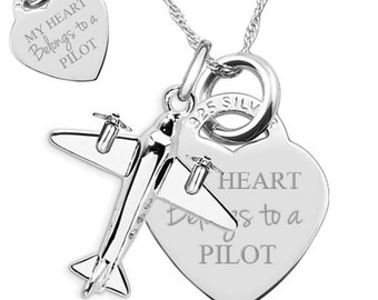 My Heart Belongs to a Pilot 925 Silver Heart Necklace (can be personalised/engraved)