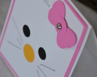 Pink Hello Kitty- Handmade Greeting Card (Blank Inside)