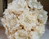 Wedding Bouquet, Rustic, Bridal Bouquet, Burlap Bouquet, Pearls and Rhinestones
