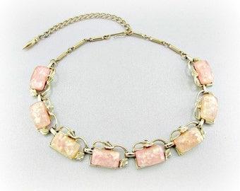 Vintage Necklace, Peach Pink Confetti Lucite Necklace, Gold Leaf Necklace, Gold Choker Necklace, 1950s Wedding Bridal Costume Jewelry