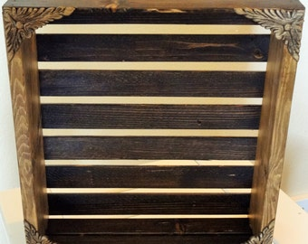 Decorative Crate- Antiqued Jacobean with Corner Embellishments