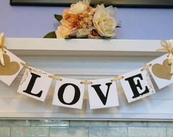 Wedding decorations - Wedding Garland - Gold Love banner - Bridal shower Decorations-  LOVE Banner - Golden wedding anniversary decor